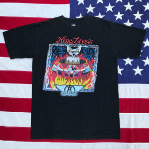 "Aerosmith "" Nine Lives "" Nth American Tour 1999 Original Vintage Rock T-Shirt by Giant USA"