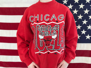 Chicago Bulls NBA 90's Vintage Official Licensed Product Sporting Crew Sweat By Team Hanes USA