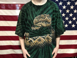 "Animal Print 90's Vintage T-shirt "" Snake "" Design Double Sided by Habitat USA"