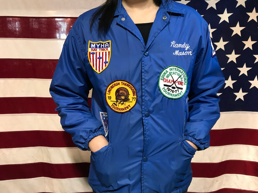 "Vintage Ice Hockey 1970's Windless "" The Flap Jacket "" Nylon Windbreaker With Original 70's Woven Patches"
