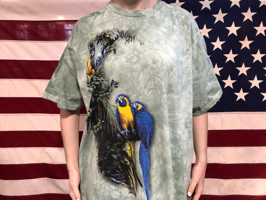 "Animal Print 2000 Vintage T-shirt "" Tropical Birds "" Design by The Mountain USA"