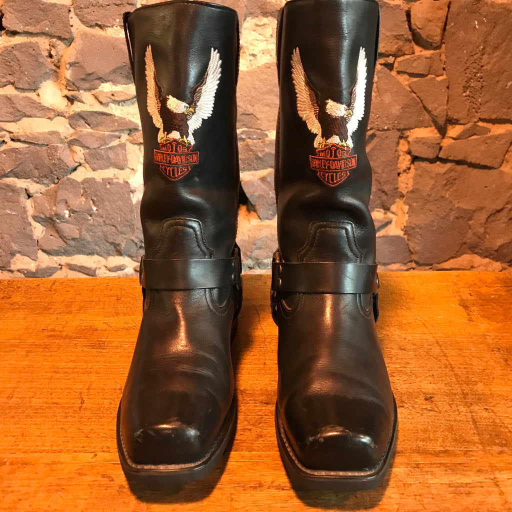 Harley Davidson Vintage Mens Black Embroidered Iconic Logo Motorcycle Boots USA Size 12