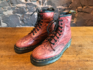 Dr Martens Rare Vintage Dark Red Boatex 1460 Women's Boots Size UK 6 Made in England