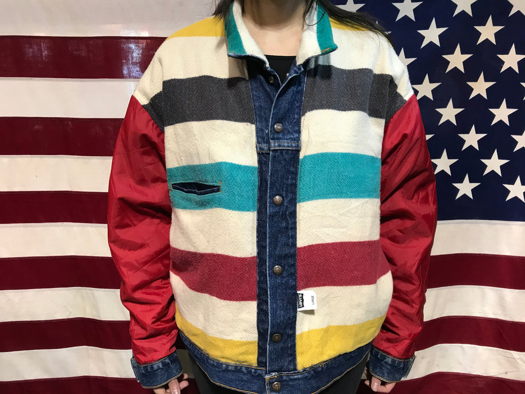 Levis & Hudson's Bay Special Edition Rare 80's Vintage Denim Trucker Jacket Made In USA