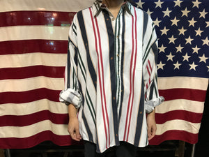 Stripe 90's Vintage Catalina Logo Cotton Pattern Long Sleeve Mens Shirt