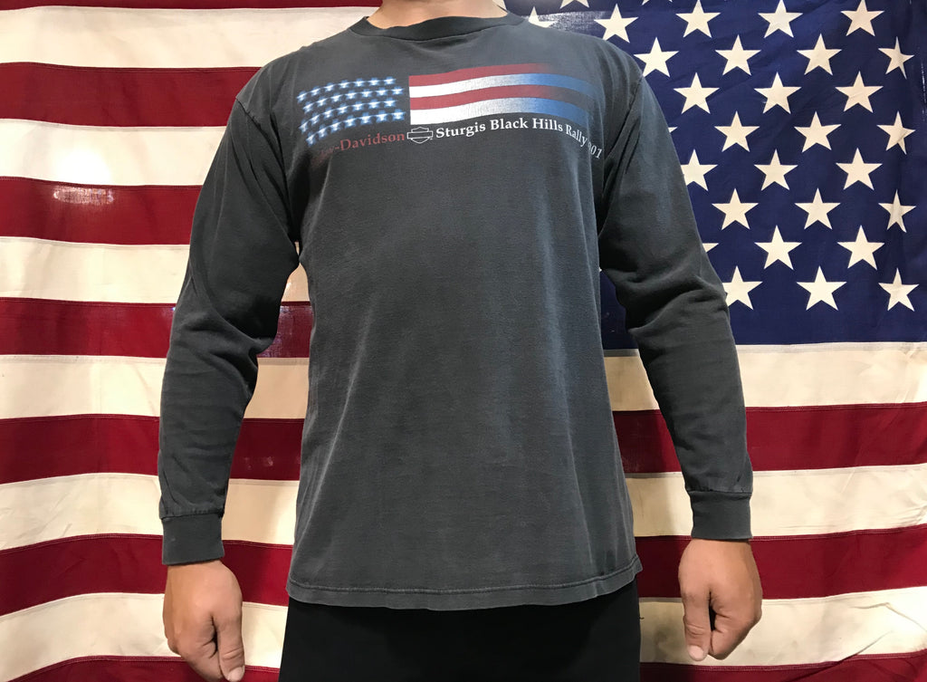 Harley Davidson ©️2001 H-D Vintage Long sleeve Tee- USA Flag Sturgis Black Hills Rally South Dakota Made in USA