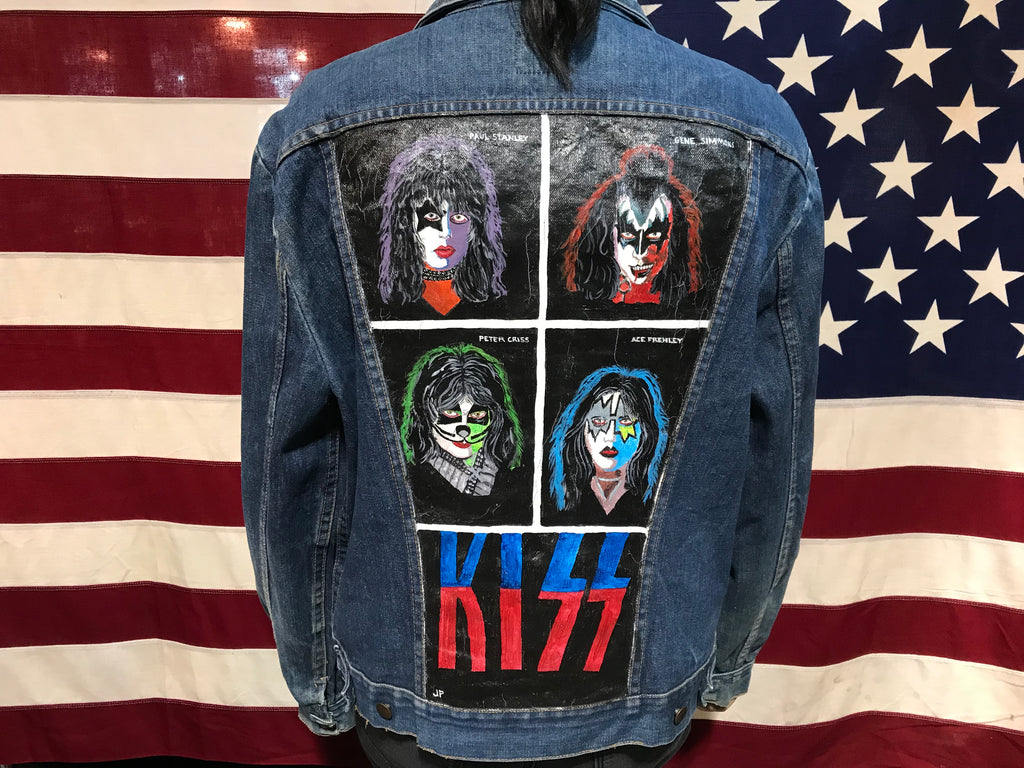 Maverick Blue Bell 70's Vintage Blue 4 Pocket Denim Jacket with 'Kiss ' Rock Band Painted Back Embellishment