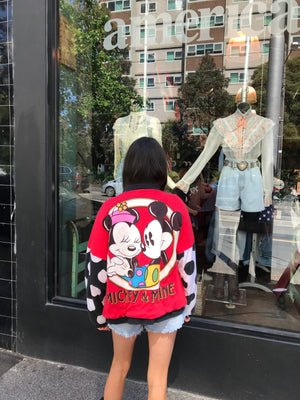 Mickey & Minnie Mouse Vintage 80's Jersey Jacket by ©️The Walt Disney Co Made In USA