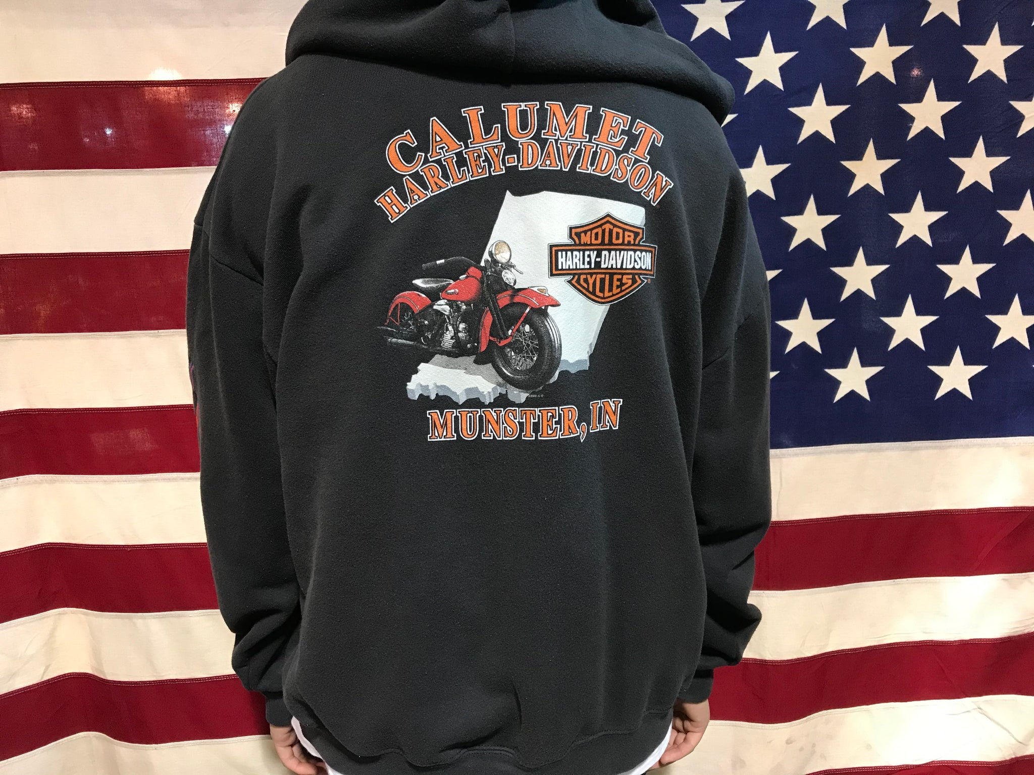 Harley Davidson Vintage Mens Zip Front Hoody Made in USA