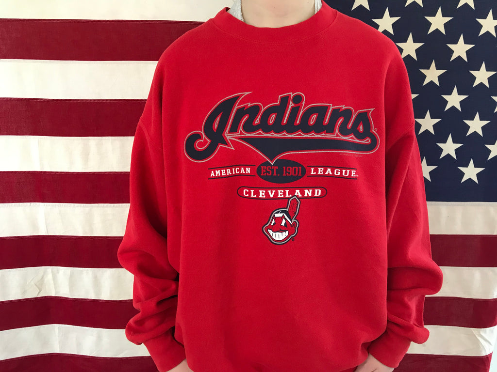Cleveland Indians ®️ MLB 2001 Vintage Crew Sporting Sweat by Lee Sport USA