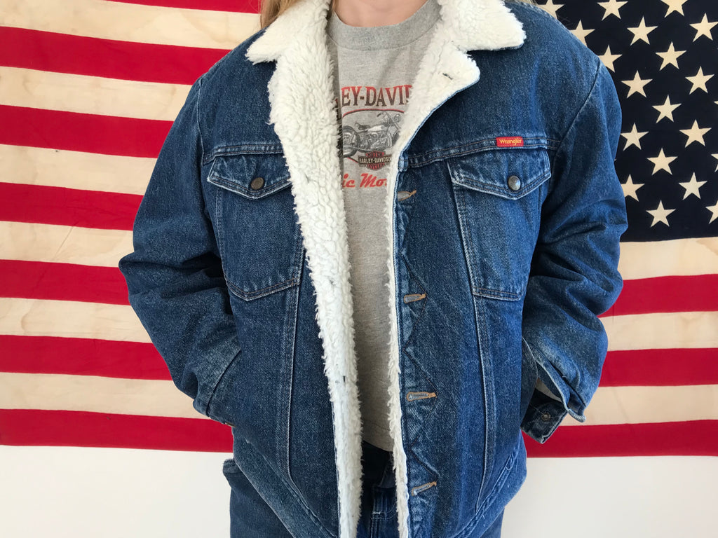 Wrangler Mens  Sherpa Lined Vintage Denim Jacket