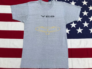 YES 19025 World Tour 1984 Original Vintage Rock T-Shirt Grey Marle