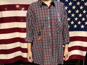 Acme Clothing - Warner Bros 90's Vintage Check Flannel Long Sleeve Mens Shirt