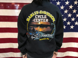 Harley Davidson 90's Vintage Crew Sweat Made in Milwaukee Cape Cod USA