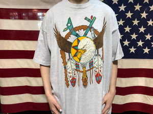 "Animal Print 90's Vintage T-shirt "" Eagle "" Southwestern Design By Fruit of the Loom Made in USA"
