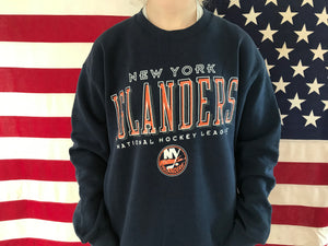 New York Islanders NHL 90's Ice Hockey Vintage Crew Sporting Sweat by Pro Player Made in USA