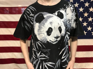 "Animal Print 90's Vintage T-shirt "" Panda "" Design Harlequin Nature Graphics Made in USA by Turner Originals"