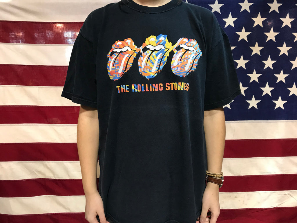 "Rolling Stones  "" Three Tongues "" Vintage Rock T-Shirt by Anvil USA"