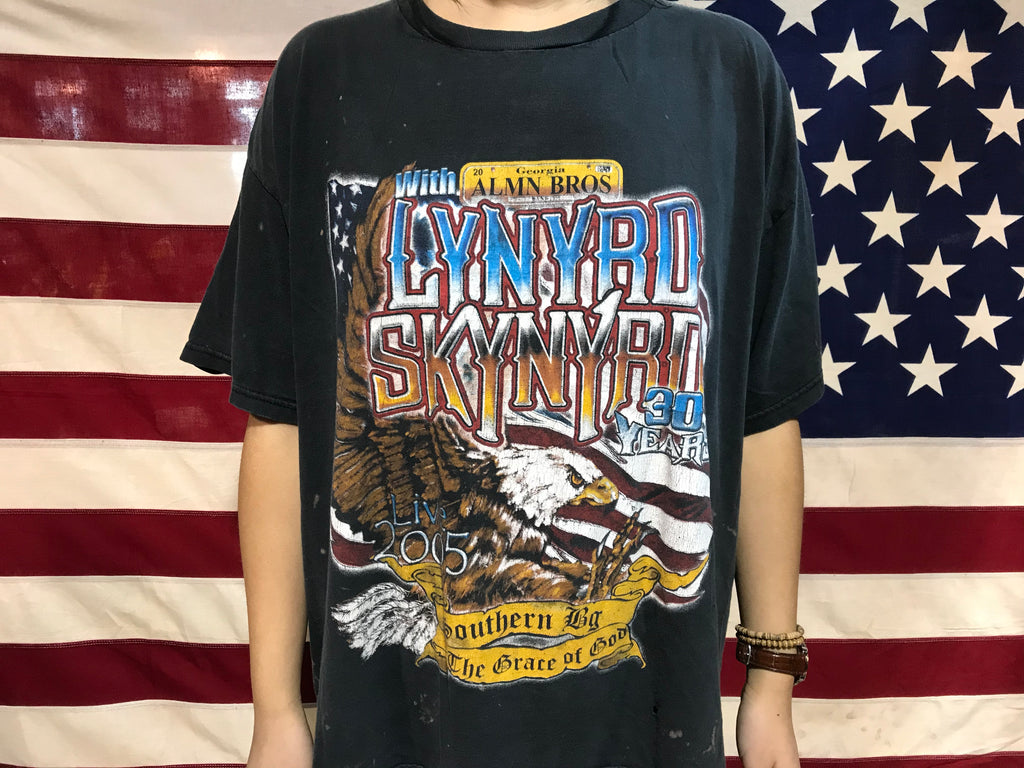 Lynyrd Skynyrd 2005 Southern By The Grace of God Nth American Tour Concert  Vintage Rock T-Shirt