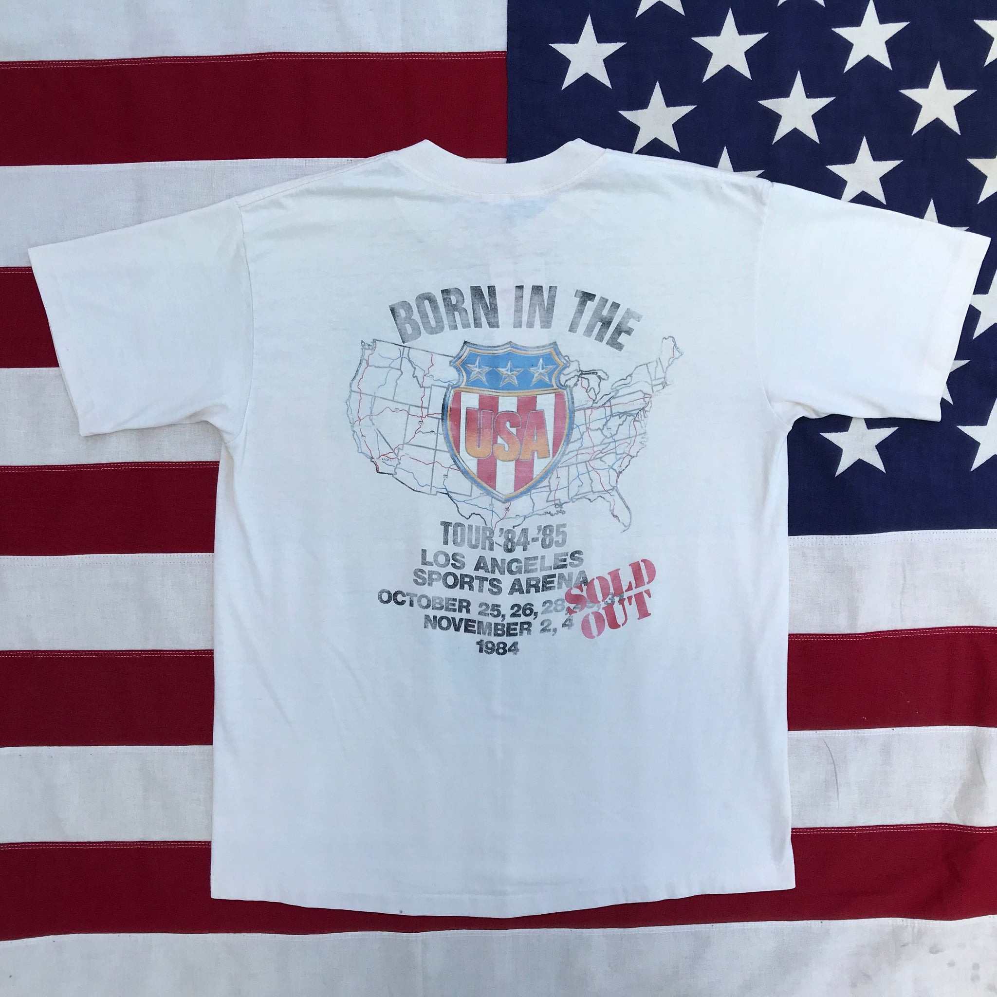 "Bruce Springsteen & The E Street Band "" Born In The USA Tour '84-'85 ""  LA Sports Arena RARE USA Original Vintage Rock T-Shirt By Winterland Productions USA"