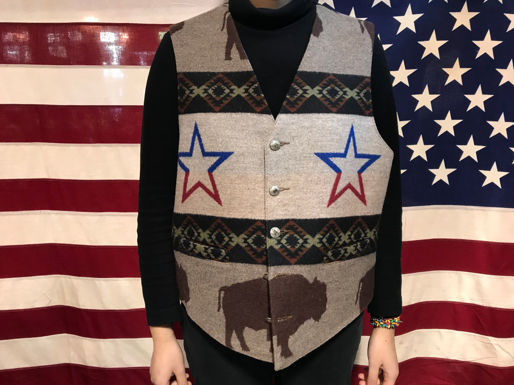 Pendleton Woolen Mills High Grade Western Wear Vintage South Western Tribal Aztec & Bison Design Wool Vest Made in USA