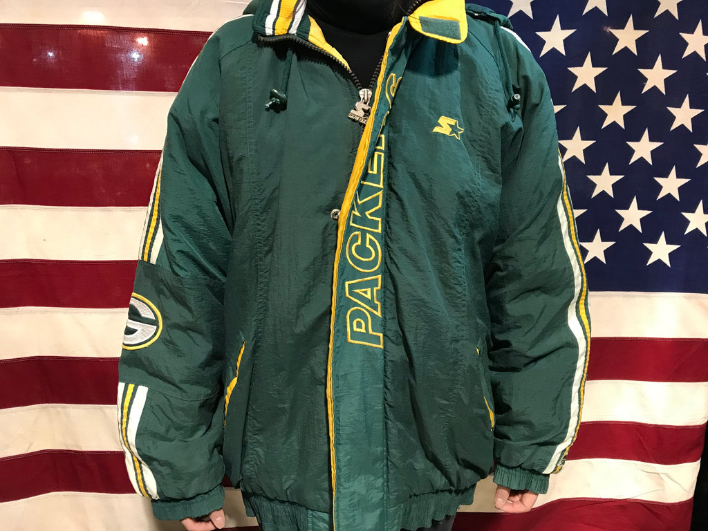 Green Bay Packers NFL Vintage Hooded 90's Nylon Mens ProLine Starter Jacket