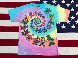"Grateful Dead "" Spiral Bears 1995 "" Original Vintage Rock Tie Dye T-Shirt by Liquid Blue USA"