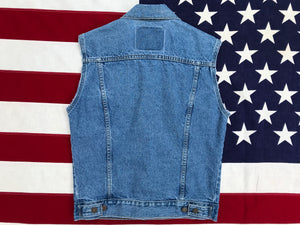 Levi's Orange Tab Denim Vest 90's Vintage Stonewash Blue 2 Pocket