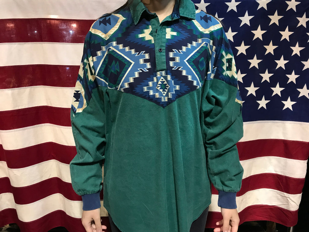 Roper 80's Vintage Aztec Unique Panelled Patterned Long Sleeve Mens O'Shirt