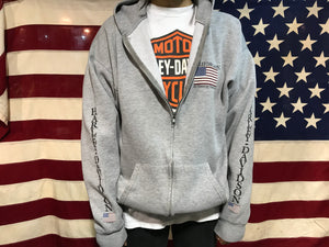Harley Davidson Zip Front 90's Vintage Mens Hoody Made in USA