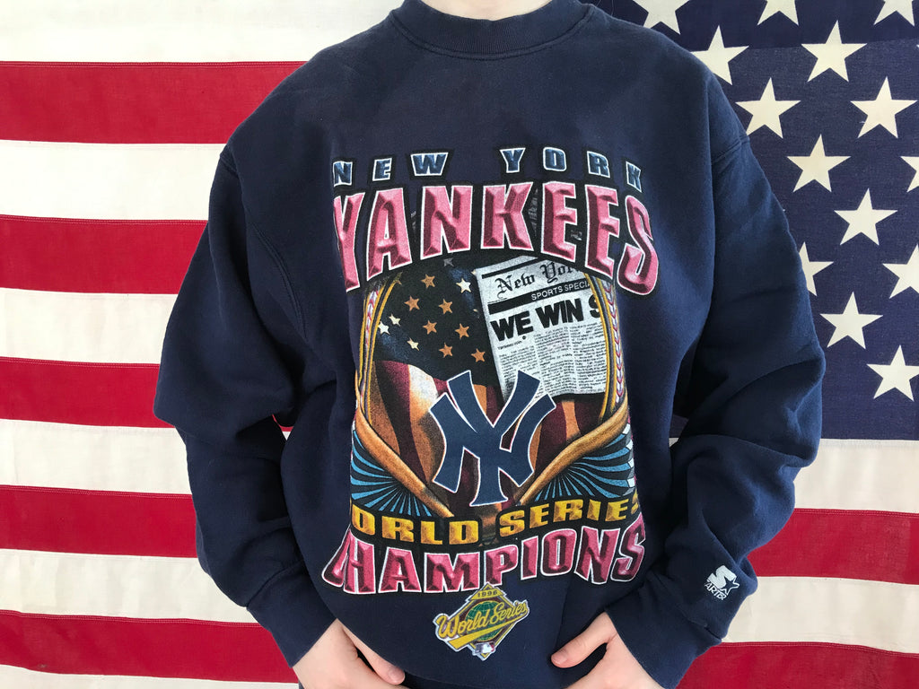 New York Yankees MLB World Series 90's Champions Vintage Crew Sporting Sweat By Starter®️Made in USA