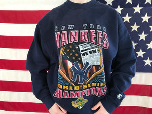 New York Yankees MLB World Series 90's Champions Vintage Crew Sporting Sweat By Starter Made in USA