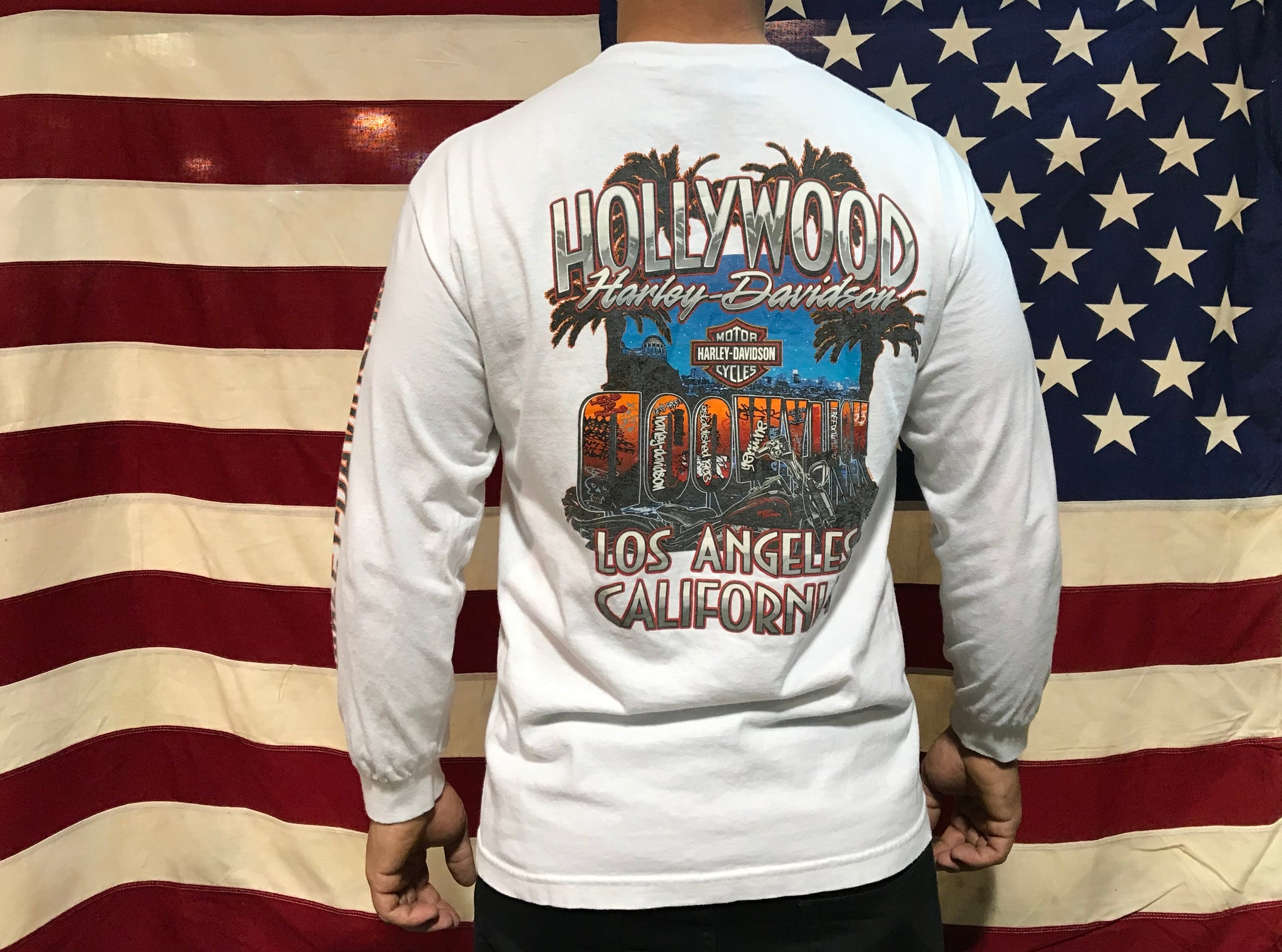 Harley Davidson Vintage White H-D Logo Long Sleeve T-Shirt Hollywood Los Angeles California