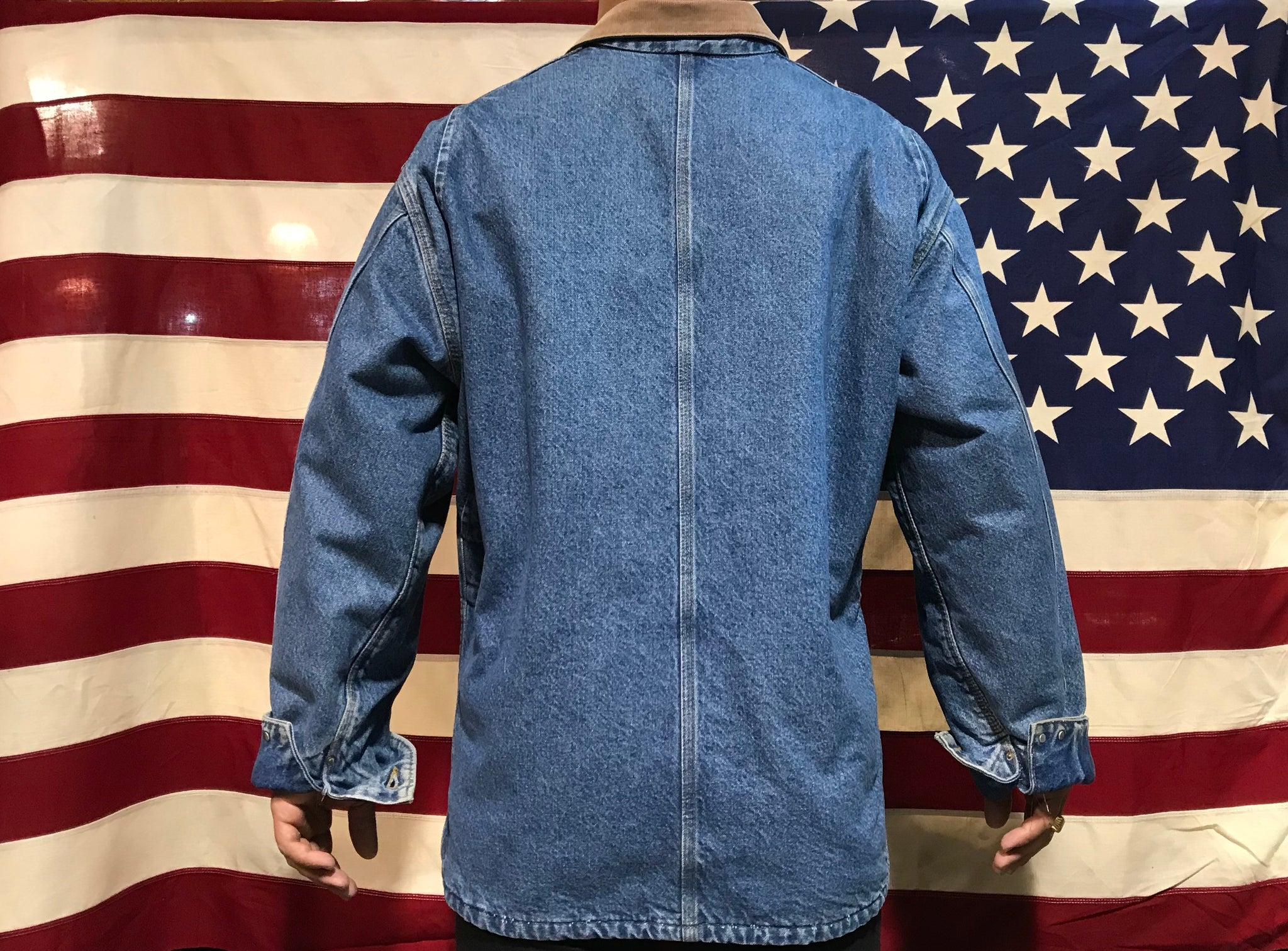 Carhartt Denim Mens 90's Vintage Blanket Lined Jacket Cord Collar