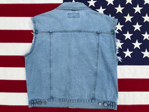 Wrangler Hero ®️ Denim Vest  90's Vintage Stonewash Blue 4 Pocket Made in USA