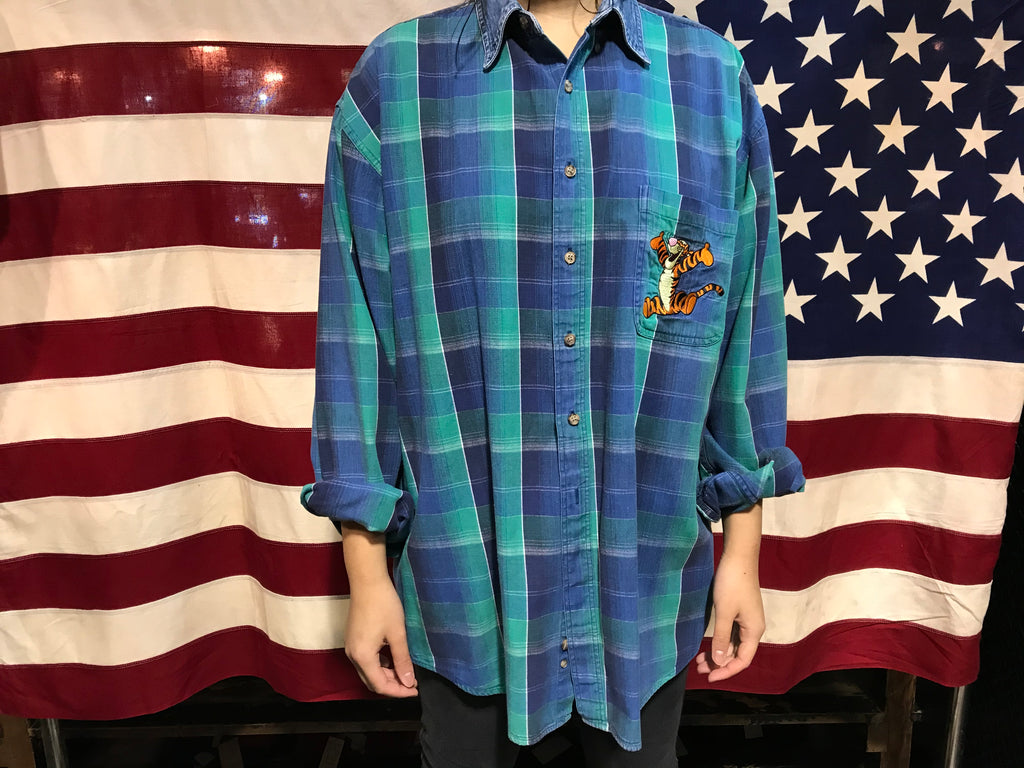 Disney 90's Vintage Check Flannel Long Sleeve Mens Shirt