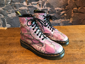 Dr Martens Rare Vintage Pink Snakeskin Women's Boots Size UK 6.5 Made in England