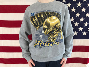 Los Angeles Rams NFL 90's Vintage Crew Sporting Sweat By CSA Div of Nutmeg Mills USA