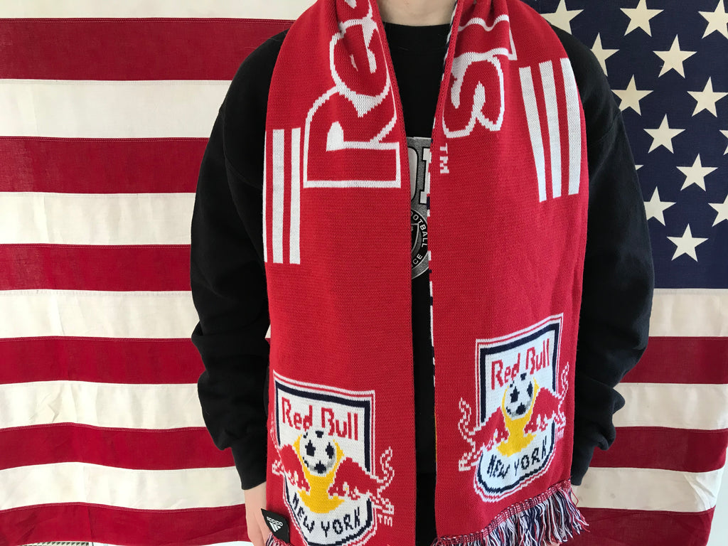 Adidas Red Bull ' New York ' 90's Vintage Knit Reversible Scarf by Sports Scarf Made in UK