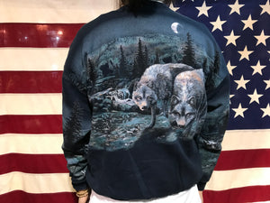 Wolves Animal Print 90's Vintage Sweat by Art Unlimited Sportswear USA