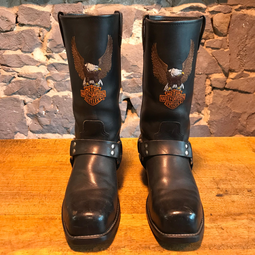 Harley Davidson Vintage Mens Black Embroidered Iconic Logo Motorcycle Boots USA Size 9