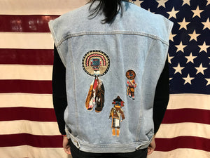 Cambridge Dry Goods Co Vintage 90's Denim Embroidered South Western Navaho Style  Vest