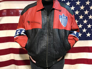 Michael Hoban WHERE MI 90's Vintage Leather USA Flag Jacket