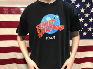 "Planet Hollywood "" Maui  ""  90's Vintage Crew T-Shirt Made In USA"