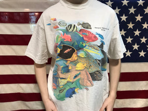 "Animal Print 90's Vintage T-shirt "" Tropical Fish "" Design Made in USA by Hanes Beefy-T"