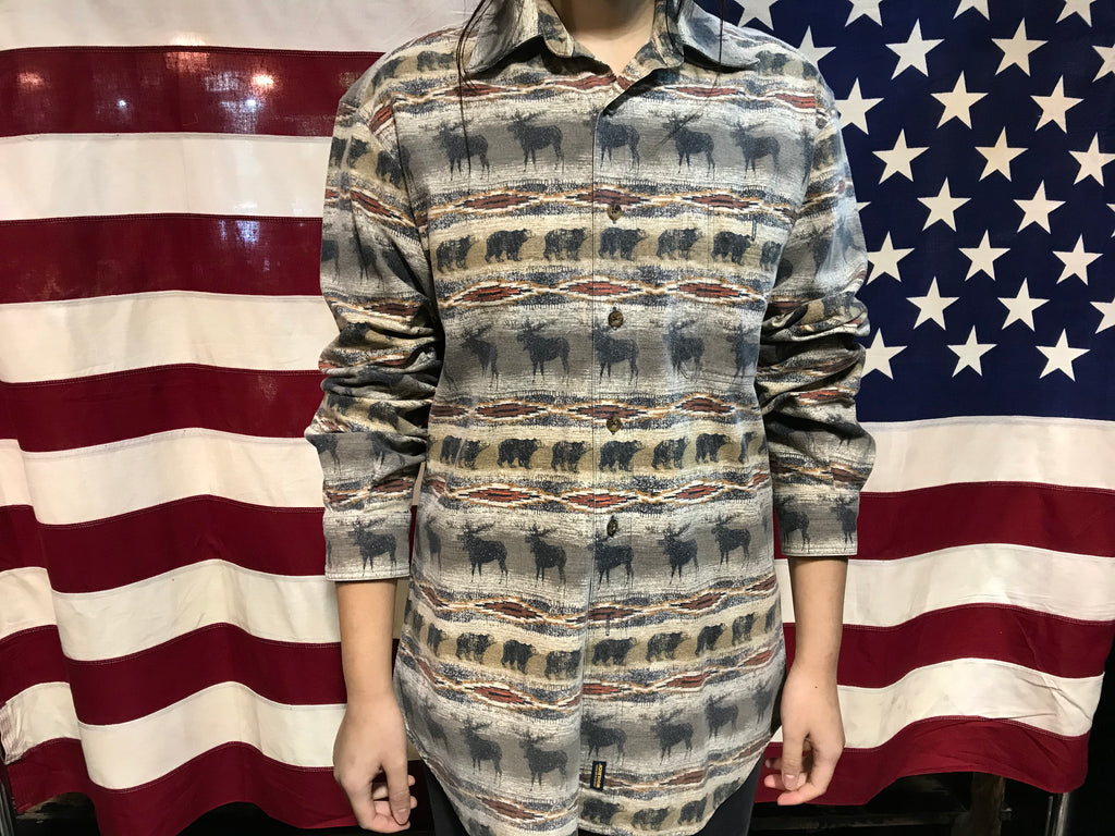 Woolrich 90's Printed Flannel Vintage Long Sleeve Mens Shirt