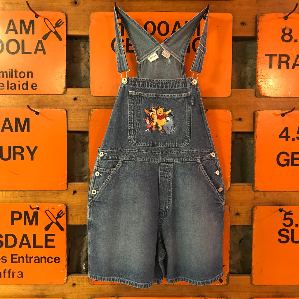 Disney 90's Vintage Denim  Winnie The Pooh & Friends Short Overalls