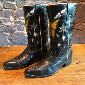 "Cowboy Boots Acme Vintage Mens Fancy "" Butterfly "" Inlaid Western Boot Made in USA"