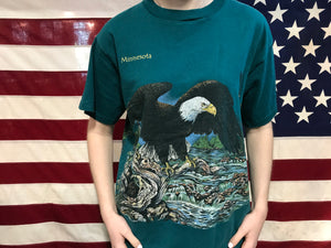 "Animal Print 90's Vintage T-shirt "" Eagle "" Design Made in USA by Habitat Wilderness"