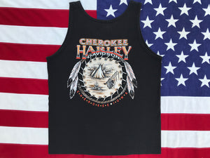 Harley Davidson Vintage 90's Mens Tank - Cherokee, Iowa. Made in  USA